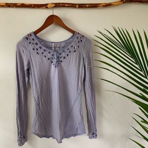 Free People Eyelet Cuff Long Sleeve Tee